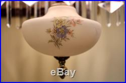 Vintage Victorian Style Hanging Parlor Lamp With Prisms And Floral Shade