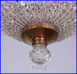 Vintage Waterfall Bronze & Cut Glass Hanging Lamp/Chandelier