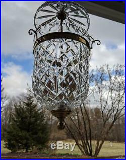 Vintage Waterford Crystal Bell Jar Lamp Chandelier Pendant Hanging Light Fixture