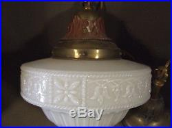 Vintage White Art Nouveau Embossed Glass Hanging Pendant Lamp Light