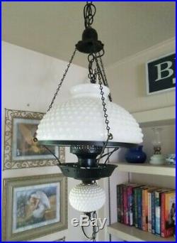 Vintage White Hobnail Milk Glass Hurricane Globe Hanging Lamp Electric