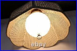 Vintage WickerRattan Hanging Swag Lamp Light with Original Glass Globe