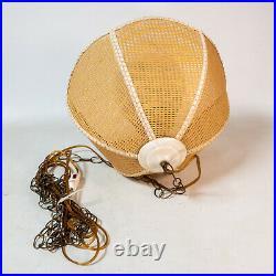 Vintage Wicker Rattan Hanging Swag Lamp Light Glass Globe 16 MCM 1970s USA