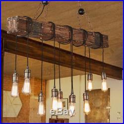 Vintage Wood Industrial Pendant Light Hanging Ceiling Lamp Rustic Chandelier