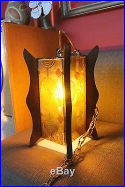 Vintage Working Mid Century Hanging Lamp with Decorative Plastic Amber Panels