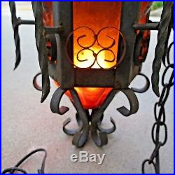 Vintage Wrought Iron Gothic Hanging Swag Lamp Light Honeycomb Amber