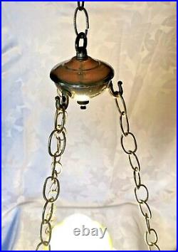 Vintage Yellow Glass Floral Hurricane Hanging Ceiling Lamp Light GWTW