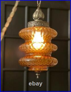 Vintage amber glass swag lamp Rewired light mcm mid century