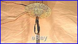 Vintage/antique 4 Light 28 Big, 28 Small Crystals & Brass Chandelier Hanging Lamp