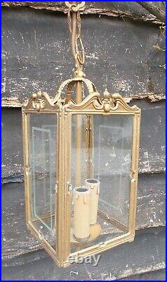 Vintage/antique style ceiling lantern lamp, brass/etched glass hanging, French