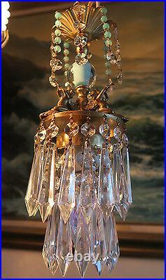 Vintage baby room Chandelier swag Lamp Cherub trumpet crystal brass Glass light