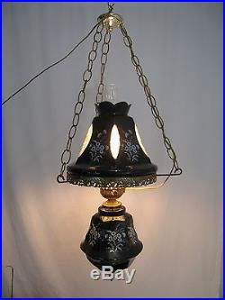 Vintage black ceramic hanging lamp flower pattern great condition