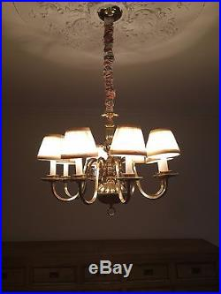 Vintage brass chandelier 8 light hanging ceiling lamp colonial style