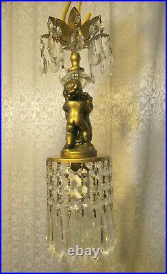 Vintage crystal prism Cherub hanging SWAG Lamp Chandelier brass spelter