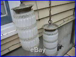 Vintage double hanging lamp light ceiling fixture mid century frosted beautiful