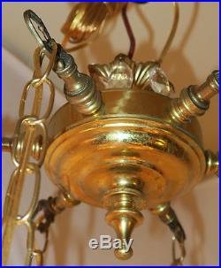Vintage hanging Swag lamp chandelier tole brass Deco st Lily crystal prisms 6Lte