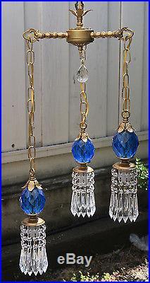 Vintage hanging Swag lamp chandelier tole brass blue Lucite ball & crystal prism