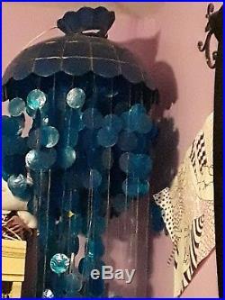 Vintage hanging capiz shell 3 tier Cascade chandilier light lamp decor