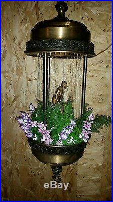 Vintage hanging rain oil light lamp, naked Greek Goddess With new folaige