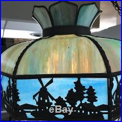 Vintage or Antique Dutch Windmill Slag Stained Glass Ceiling Hanging Light Lamp