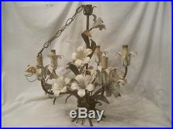 Vintage ornate metal flower chandelier electric hanging 5 light lamp floral