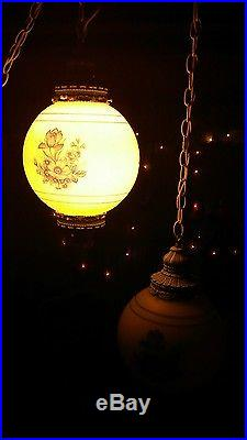 Vintage pair shabby chic white satin glass hanging pendat lamps blue flowers 60s