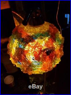 Vintage rainbow Mod Swag Lucite Spaghetti Ribbon Hanging Lamp Light Retro 1960s
