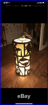 Vintage rare mid-century Zodiac carved pendant hanging lamp