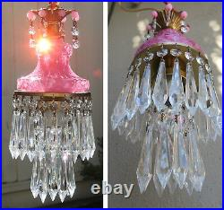 Vintage rose pink lady cupcake glass Opaline crystal Brass SWAG lamp chandelier