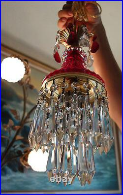Vintage ruby red Lady cupcake glass crystal Brass SWAG lamp chandelier lighting