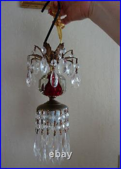 Vintage ruby red pressed glass small petite Brass hanging lamp chandelier crysta