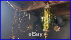 Vintage swag lamp glass green hanging