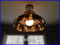 Vintage tiffany stained glass ceiling fixture hanging chandelier grapes lamp