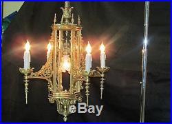 Vintage victorian castle gothic chandelier hanging lamp candle light