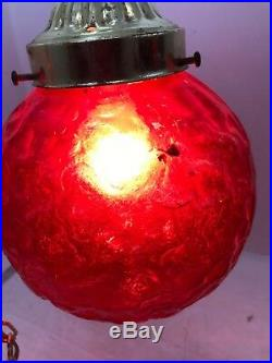 Vintage wag Bubble Glass Ceiling Light Lamp Hanging Red Globe
