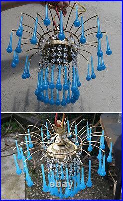 Vintage waterfall Opaline Blue Aqua Blue Tole brass SWAG lamp crystal chandelier
