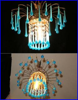 Vintage waterfall Opaline Blue Tole brass SWAG lamp crystal chandelier Hollywood