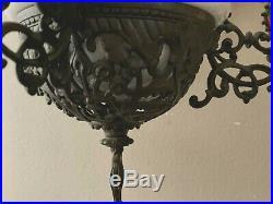 Vtg 1800's Cast Metal Victorian Hanging Oil Lamp Frame Beads Ceramic
