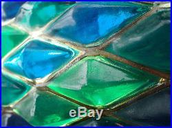 Vtg 1960s Hanging Swag Lamp Blue Green Lucite Resin MidCentury Light RETRO COOL