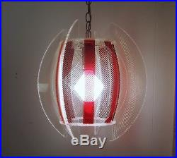 Vtg 1960s Lucite/string Red Hanging Lamp ATOMIC MCM Light Fixture (2 available)