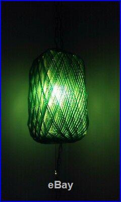 Vtg 1960s Mid Century Modern Spaghetti Lucite Light Green Blue Hanging Swag Lamp