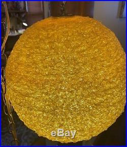 Vtg 1960s Spaghetti HANGING Chain MID CENTURY Lamp SWAG MCM Yellow Orange