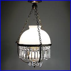 Vtg 24 White Hanging Parlor Lamp Prism Crystals Milk Glass Light Shade 3-Way