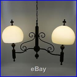 Vtg 40 Ethan Allen Brass Dual Light Glass Hanging Ceiling Chandelier Lamp Italy