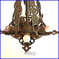 Vtg 5 Light Ceiling Fixture Chandelier Cast Iron Hanging Lamp Art Deco Nouveau