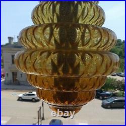 Vtg 60s 70s MCM Retro Bee Hive! Glass Amber Hanging Swag Light/lamp/Fixture HUGE