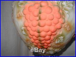 Vtg 60s Hollywood Regency Orange Grape Light Swag Hanging Lamp Ceiling Fixture