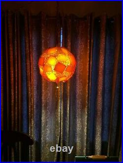 Vtg 60s LUCITE ROCK CANDY Mid-Century Modern SWAG LIGHT Ball CHUNKY Hanging