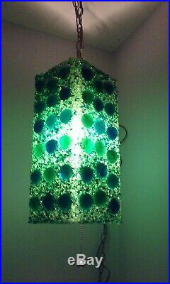 Vtg 60s Mid Century Resin Chunky Rock Candy SWAG Light Atomic Green Hanging Lamp