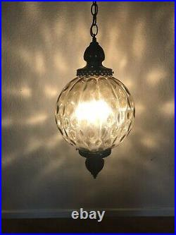 Vtg 60s Round Smoke ColoredGlass Hanging Swag Lamp Ceiling Mid Century Modern